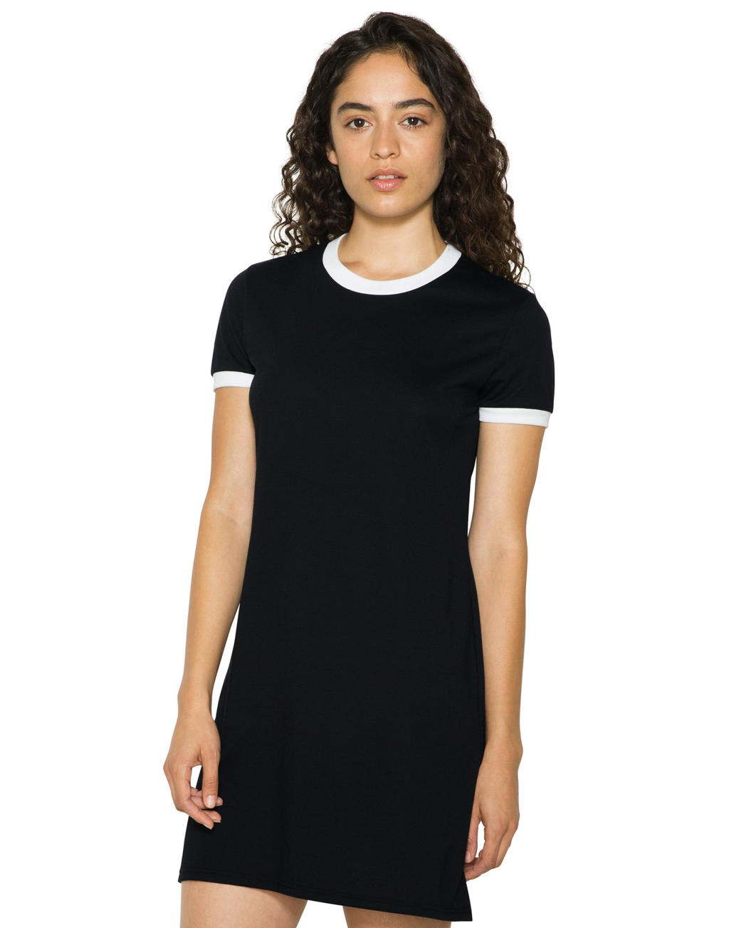 American Apparel Women`s Poly-Cotton Ringer T-Shirt Dress