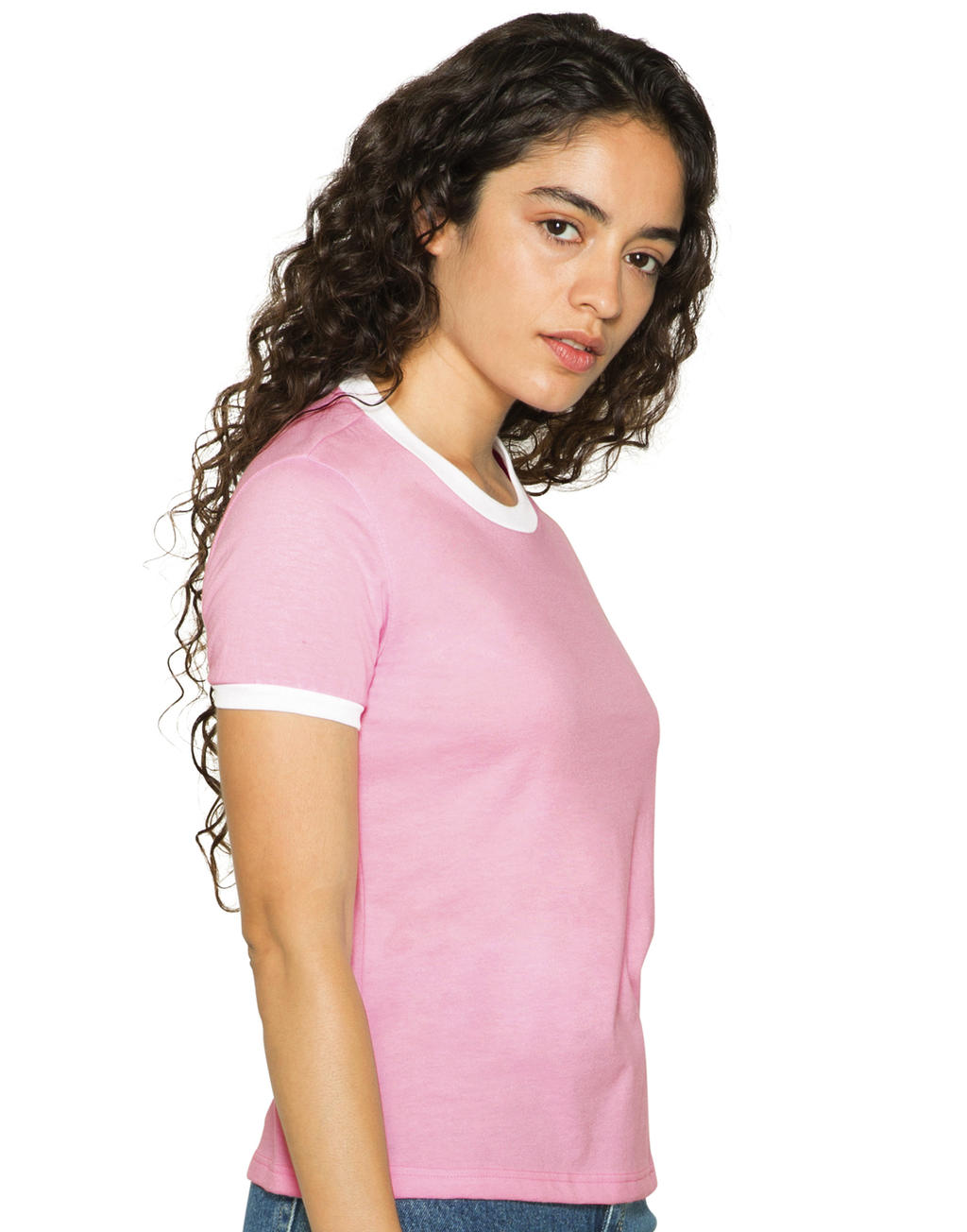 American Apparel Women`s Poly-Cotton Ringer T-Shirt